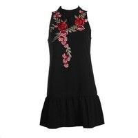 Çin Tarzı Gerdanlık Yaka Kolsuz Trompet Elbise Gündelik Elbise Çiçek Işlemeli Yaz Elbise Kadınlar için