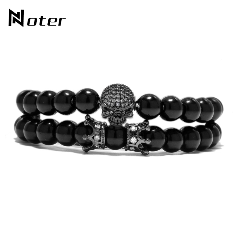 Noter 2 Pcs/Set Skull Bracelet Luxury CZ Paved Skull Crown Braslet Sets For Men Natural Stone Beads Jewelry Pulseira Caveira