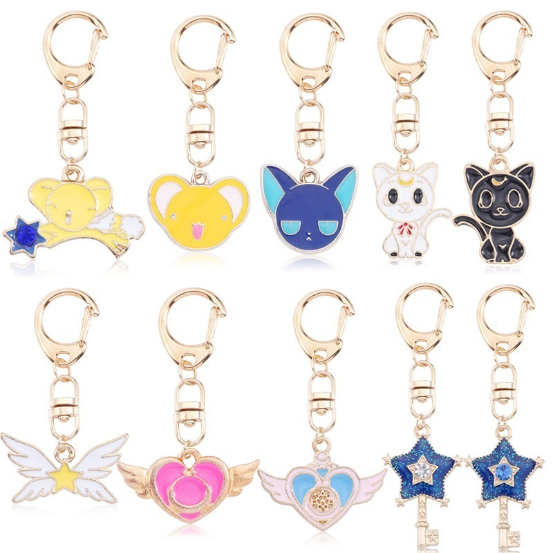 Anime Sailor Moon Jewelry Cartoon Enamel Sakura Card Captor Cat Star Heart Wings Keychain Animal Key Chain For Kid Girl Llaveros