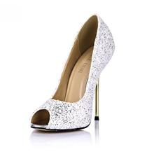 Sexy Glitter Bridal Wedding Stiletto Iron Heel Women Pumps Chaussure Escarpins Femmes Mode Mariee Talon Haut Aiguille YJ3845-a14