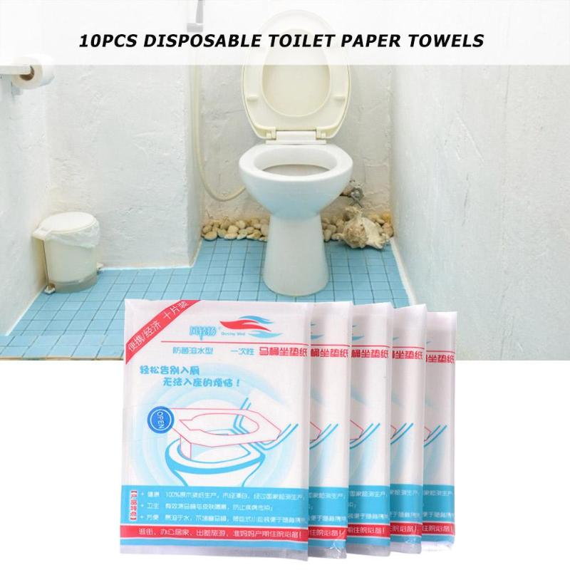 10pcs Disposable Toilet Seat Cover Safety Portable Toilet Cushion Bathroom Paper Pads Accessories for Outdoor Hotel
