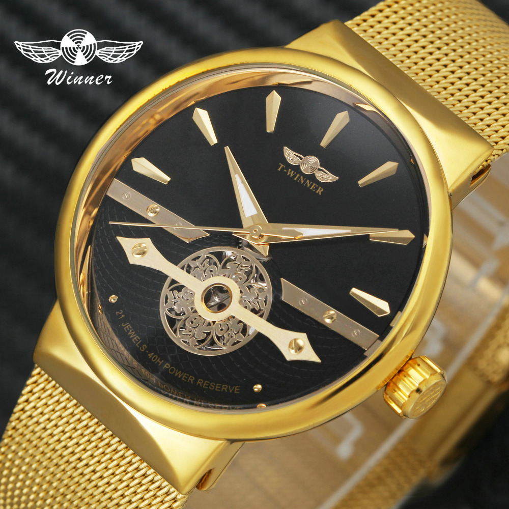 WINNER Ultra Thin Men Watch Automatic Mechanical Golden Mesh Strap Fortune Skeleton Dial FORSINING Wristwatch Gift of Best BlessWINNER Ultra Thin Men Watch Automatic Mechanical Golden Mesh Strap Fortune Skeleton Dial FORSINING Wristwatch Gift of Best Bless