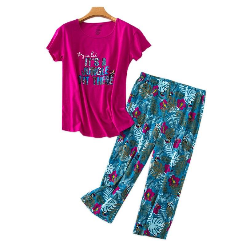 Summer Hot Sale Cropped Trousers Pajama Sets Women Plus Size 100kg Cute Short Sleeve Cozy Sleepwear Women Casual Pyjamas 2020