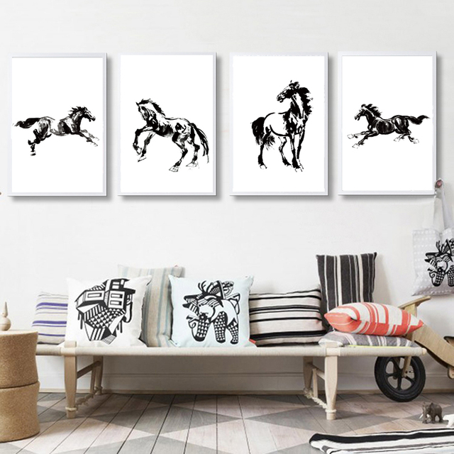 White And Black Chinese Style Horse Wall Art Modern Canvas Painting Wall  Picture Canvas Art Cuadros