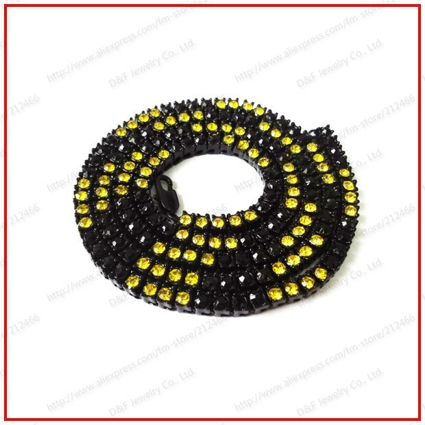 """2012 Hot Sell 30"""" 5mm Black Plated Black&Yellow Men's one Row Iced Out Bling Hiphop CZ Chain Necklace"""