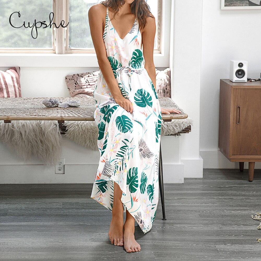 CUPSHE Women's Leafy Print V Neck Long Maxi Dress 2019 New Summer Beach Slim Sleeveless Casual Sundress Spaghetti Vestido