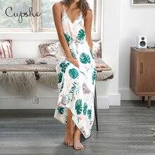 CUPSHE Womens Leafy Print V neck Long Maxi Dress 2019 New Summer Beach Slim Sleeveless Casual Sundress Spaghetti Vestido