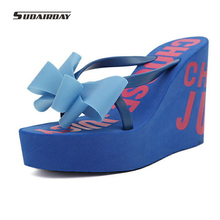 New 2016 Arrive High quality Ultra High Heels Beach Slippers Summer Bow-knot Wedges Platform Flip Flops Women Shoes Size 35-39