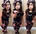 2017 meninas do bebê roupas de verão colete t-shirt calças de flores headband padrão terno do bebê crianças roupas meninas 7 sets2 3 4 5 6 anos