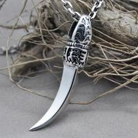 Vintage Punk Thai Silver Wolf Teeth Pendant For Men And Women 925 Sterling Silver Necklace Pendant