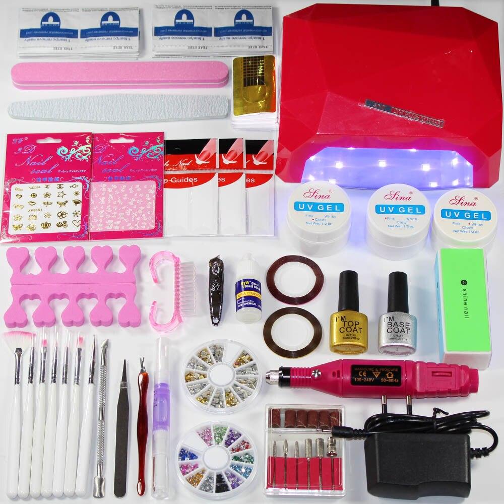 Best Gel Nails Set: Manicure Set 36W UV LED Nail Lamp UV GEL Extending Gel