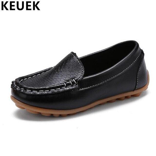 Niños casual zapatos piel planas, mocasines suaves niña y niño.