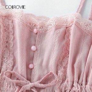 Image 5 - COLROVIE Tương Phản Ren Cami Với Quần Short Pajama Set Phụ Nữ Spaghetti Dây Đeo Màu Hồng Không Tay Dây Rút Eo Dễ Thương Ngủ