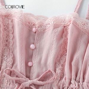 Image 5 - COLROVIE kontrastowa koronka Cami z szortami zestaw piżamy damskie różowe ramiączka spaghetti bez rękawów ściągany sznurkiem w pasie śliczne piżamy