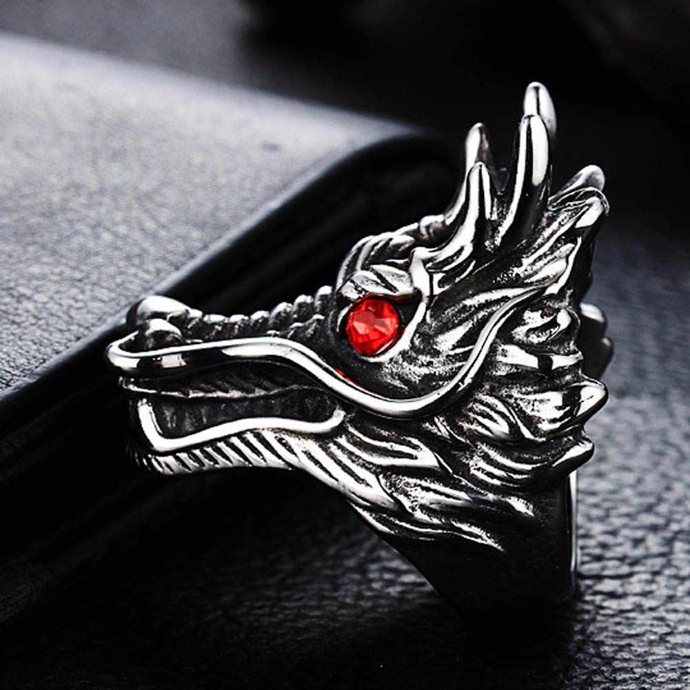 2017 ใหม่ร้อนขายมังกรแหวนผู้ชาย Punk Rock สไตล์หินสีแดงแหวนเครื่องประดับส่วนบุคคลแหวนที่ยุ้ย