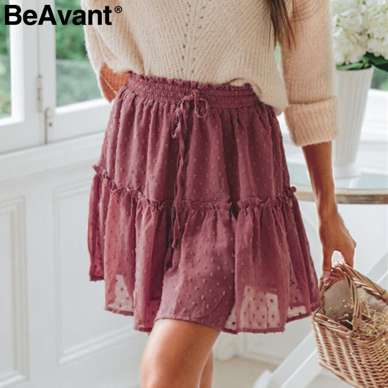 BeAvant Boho summer pleated mini skirts womens High waist polka dot short skirt pink A line floral printed ruffle chiffon skirts