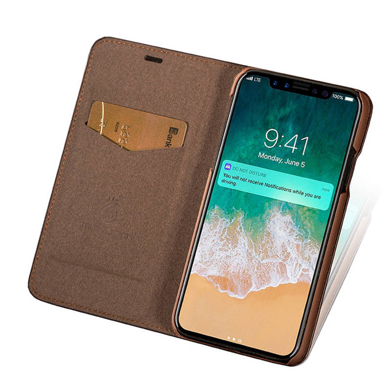 cong fee leather phone case Retro thin Wallet Real Leather Phone Case for iPhone XR/MAX