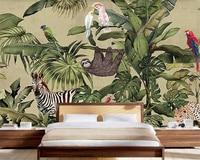 Beibehang Custom Wallpaper Retro Tropical Rainforest Animal Palm Leaf Living Room TV Background Wall Decorative Background