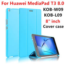 "Cover Case For Huawei Mediapad T3 8.0 KOB-W09 KOB-L09 Protective Cover PU Leather For Honor Play Pad 2 kob-w09 l09 8""Tablet Case(China)"