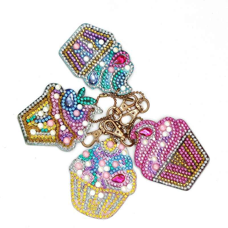 4pcs DIY Flowers Full Drill Special Shaped Diamond Painting Keychains Gifts