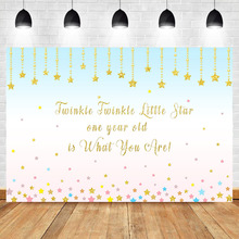 Happy 1st Birthday Backdrop Twinkle Little Star Photography Background Kids First Party Decoration Backdrops