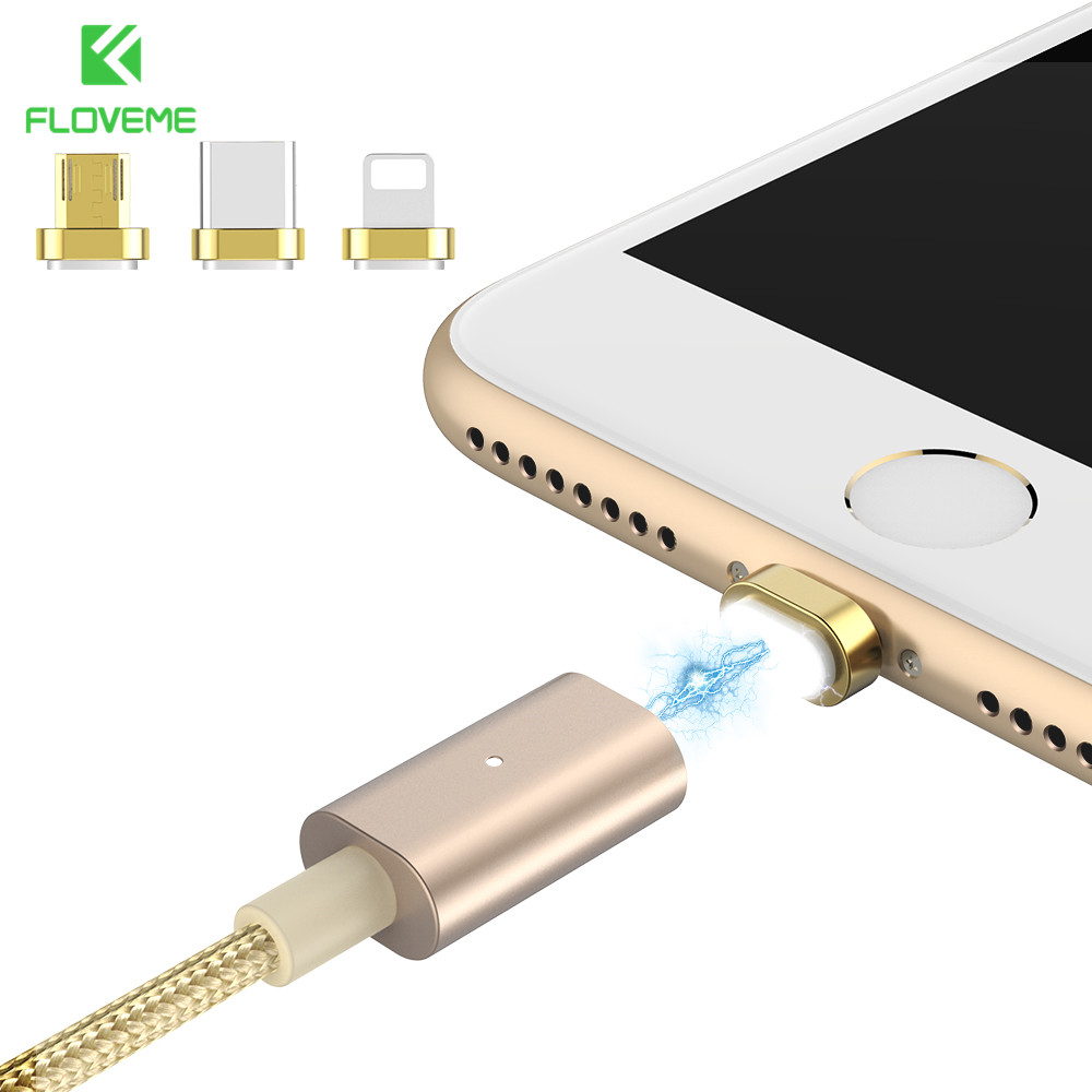 FLOVEME All in One Magnetic Charger Cable Micro USB Cable For Android For iPhone USB Charging Cable For Samsung Huawei Xiaomi