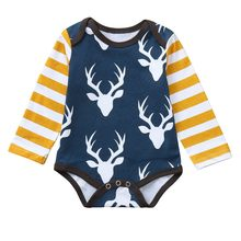 2019 New Winter Babys Clothes Toddler Infant Baby Boys Girls Stripe Long Sleeve Deer Head Printed Jumpsuit Romper Clothes(China)