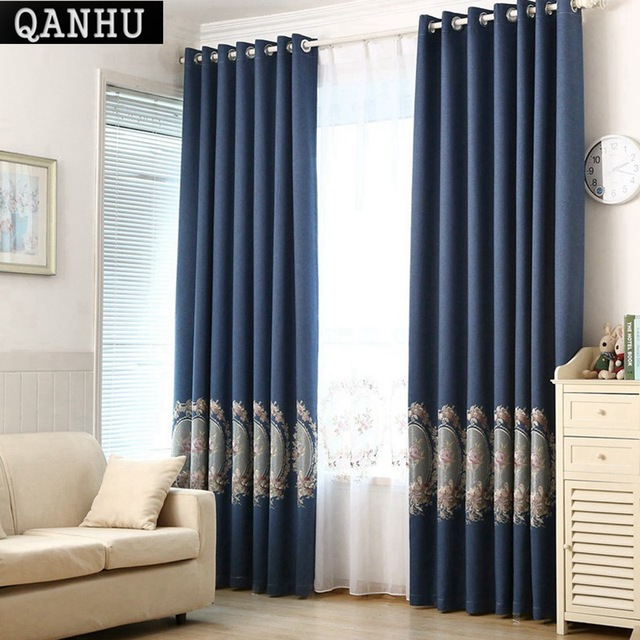 QANHU New Arrival Simple Blackout Curtain for Bedroom cortinas de