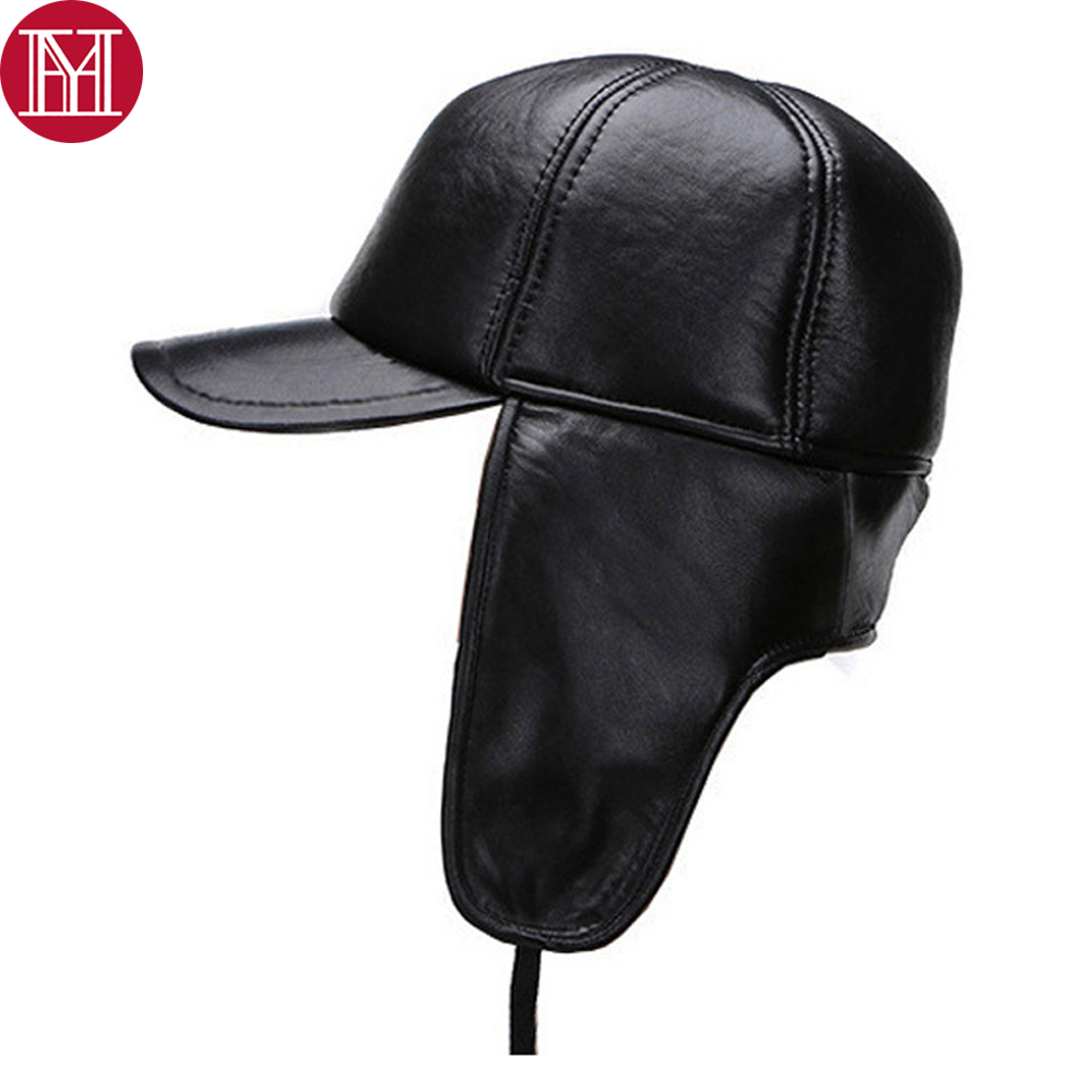 Cap Bomber-Hats Earflaps Outdoor-Caps Sheepskin-Leather Winter Real Genuine New Male
