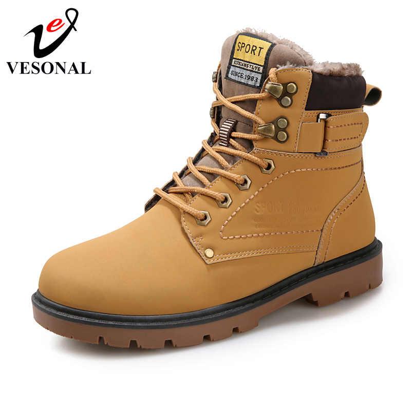 VESONAL 2018, зимние меховые теплые мужские ботинки для мужчин, повседневная обувь для работы, для взрослых, качественная, для прогулок, Резиновая, брендовая, безопасная обувь, кроссовки