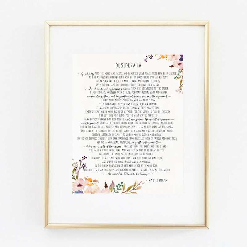 Max Ehrman Poem Desiderata Art Poster Lienzos De Pintura Impresos Cartel Literario Motivacional Arte Moderno De La Pared De La Oficina En Casa