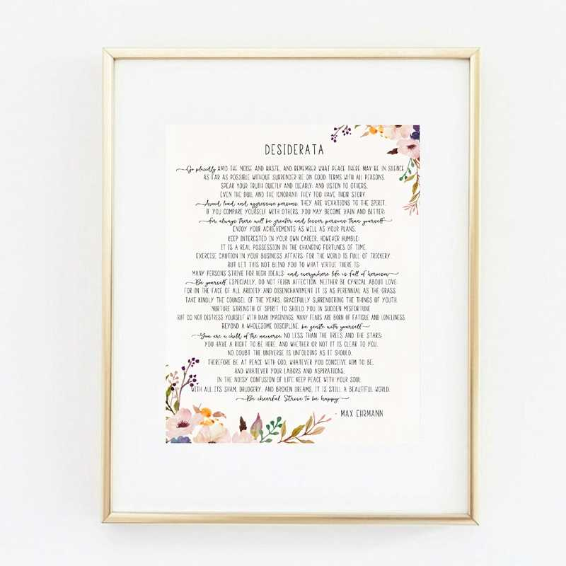 graphic regarding Desiderata Printable titled Max Ehrmann Poem - Desiderata Artwork Poster Canvas Portray Prints , Motivational Literary Poster Modernist Property Workplace Wall Artwork