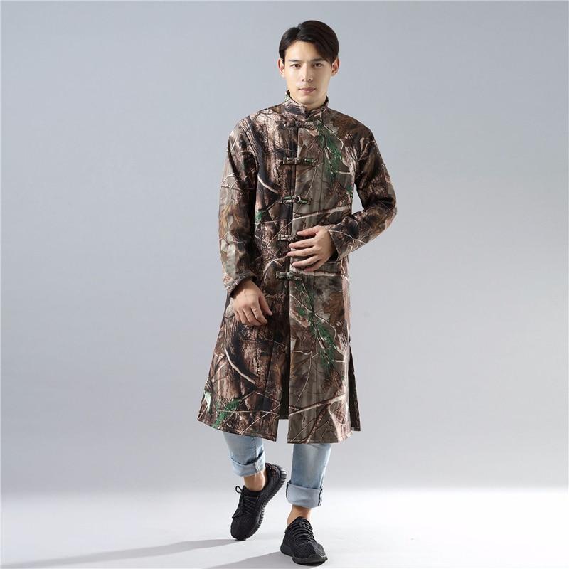 944630592c5 ... Толстая теплая куртка на подкладке из хлопка · Hisenky 2018 осень-зима  парки Для мужчин китайских Стиль плащ Плюс Бархат длинное пальто Camouflag
