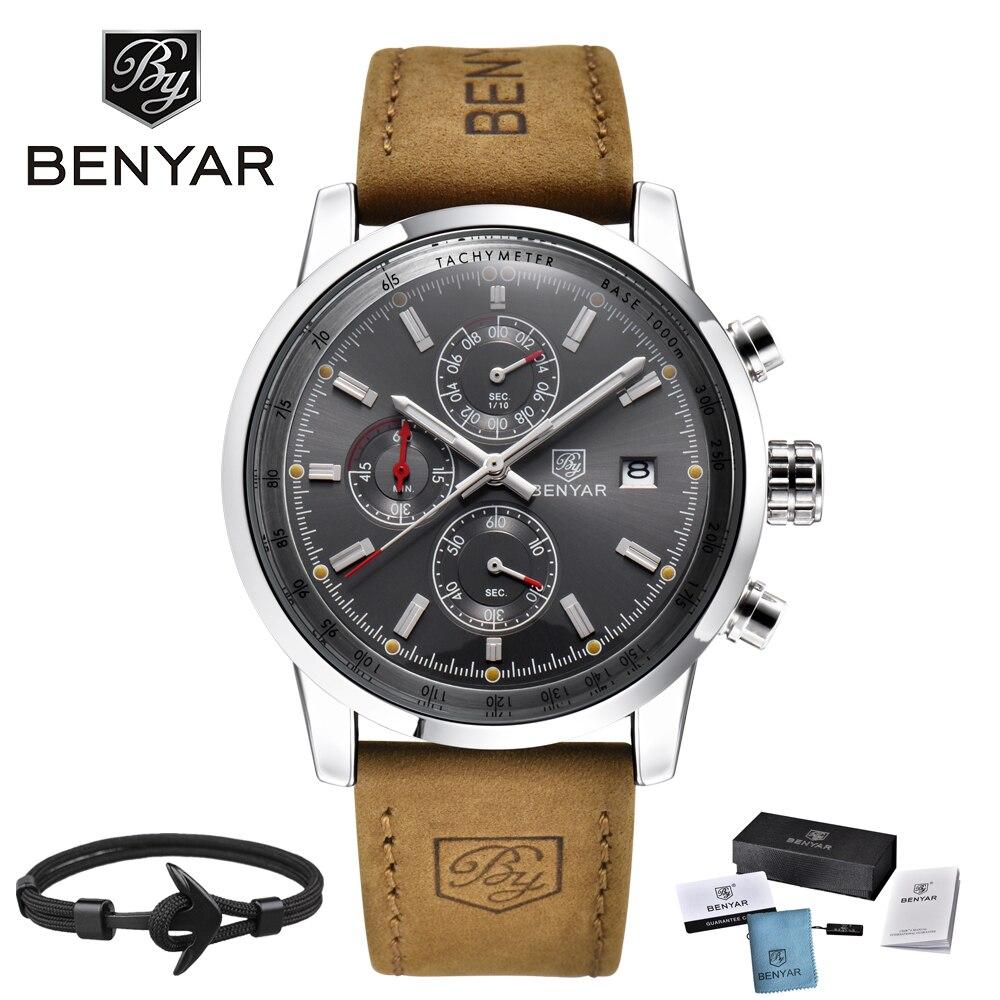 494df9d29de Men s Watch BENYAR 2017 top Brand Luxury Fashion Chronograph Sport Men  Watches waterproof leather Quartz Watch relogio masculino - aliexpress.com  - imall. ...
