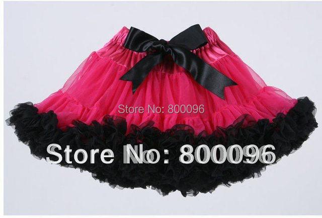 Venta caliente Negro Arco de Rosa Caliente Del Tutú de Pettiskirts de Las Muchachas Ropa Linda Faldas Niños PETS-031