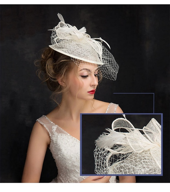 New Arrival 2017 Beautiful Ivory Birdcage Bridal Flower Feathers Fascinator Bride Wedding Hats Face Veils In Stock
