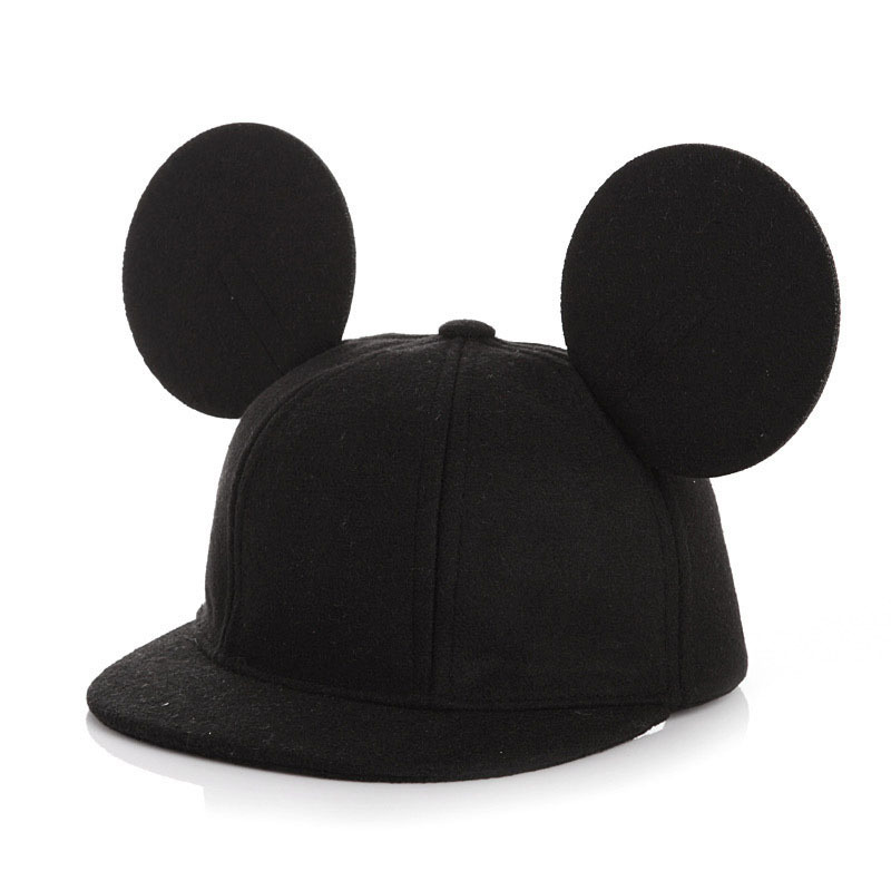 Fashion Parent-Child Mouse Ears Wool Baseball Cap Children Animal Flat Brim Caps Beach Women Men Snapback Hat Kids Hip Hop Hats