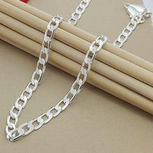 Men 10MM Hip Hop Chain Necklaces 925 Sterling Silver Jewelry AAA Quality Statement Necklace For Male 22-26 Inches(China)