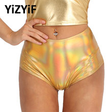CheckOut Swimwear Women Shiny Metallic bikini bottom swimsuit Patent Leather Back Zipper High Waist Booty Shorts Dance Raves Swim Shorts opportunity