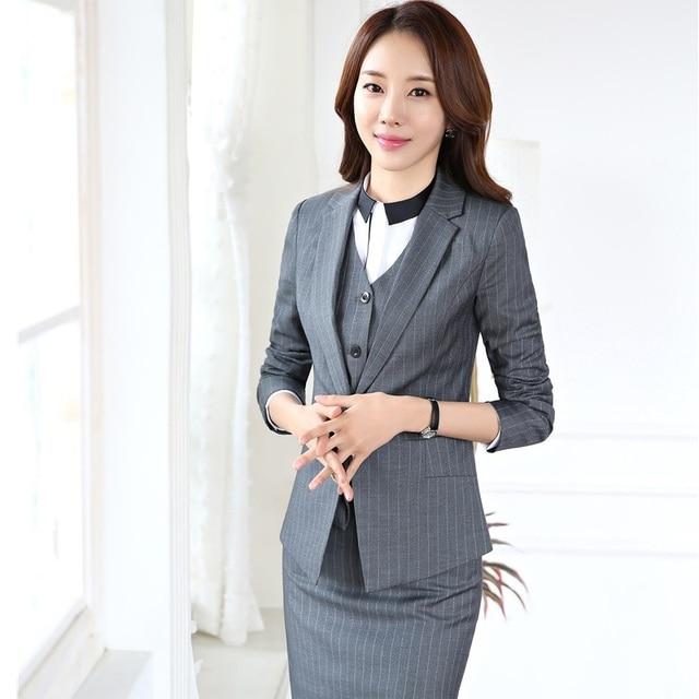 55bd6df49 Moda Listrado Formal Ternos Estilos Uniformes Profissional Com 3 peças  Outfits Casacos + Saia + Colete