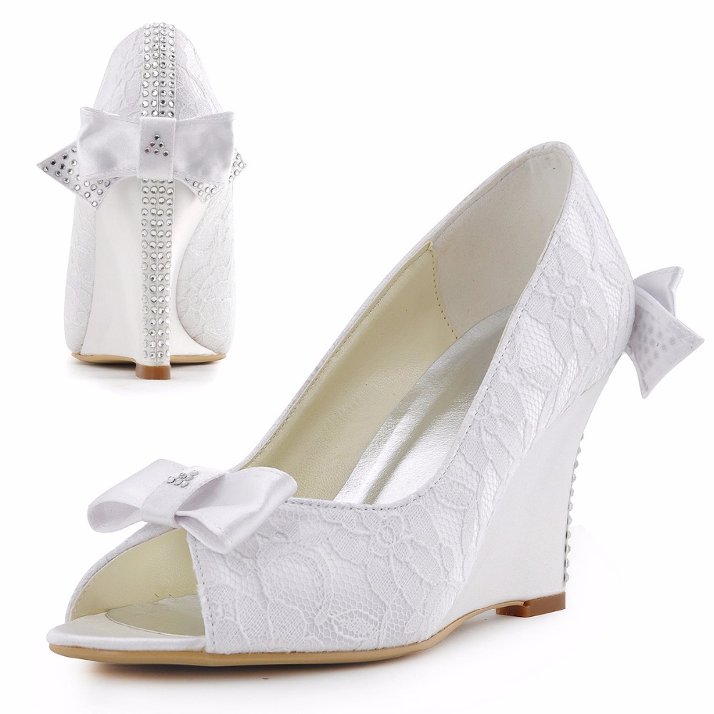 Women Wedges Wedding Bridal Shoes Ivory White WP1414 Peep Toe High Heels Crystal Bow Bride Lace Satin Prom Party Pumps peep toes sexy summer wedding shoes satin bridal pumps hs352 handmade lace pearls ladies high quality satin dancing pumps