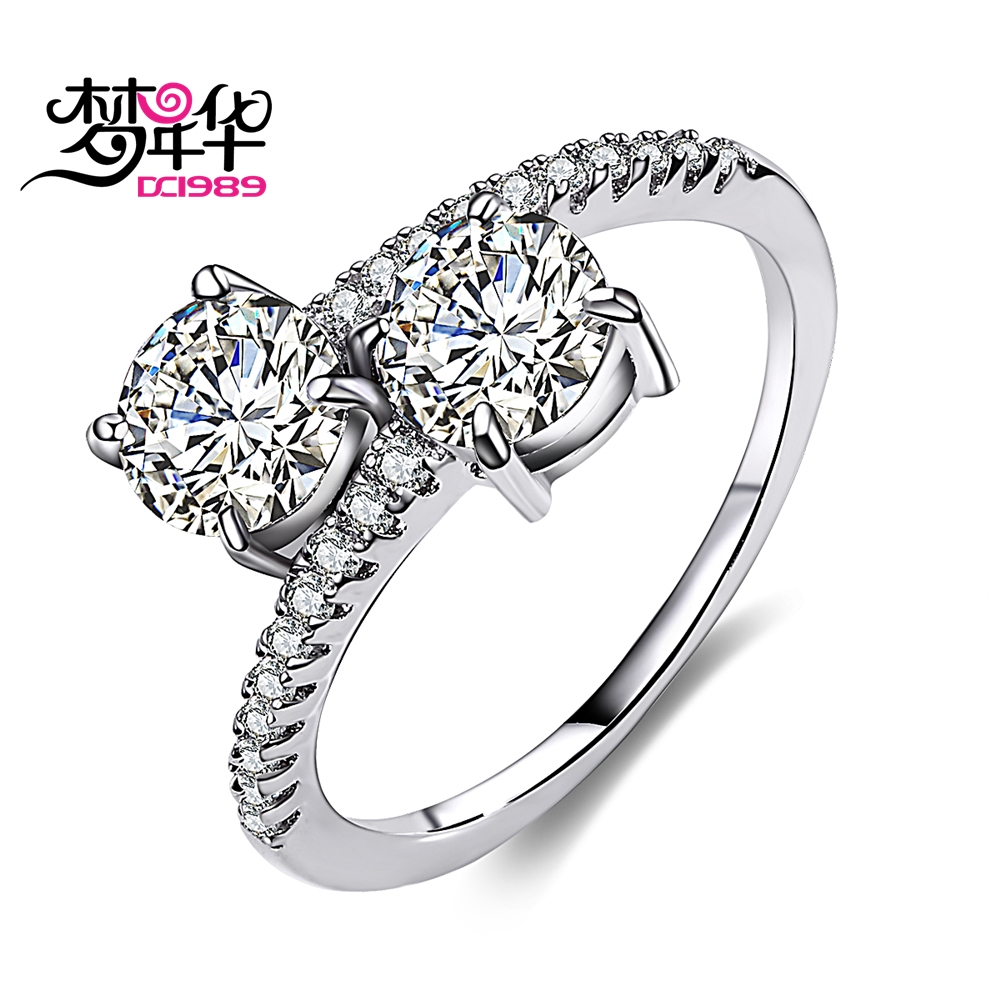 DreanCarnival 1989 Sparkling CZ Stone Wedding Rings for Women Elegant Rhodium Color Twisted Alyans Mujeres Anillos