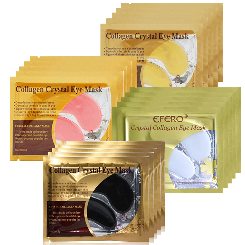 10pcs=5pair Eye Mask Crystal Collagen Gold Masks Eye Patches Dark Circles Anti Aging Moisturizing Eye Pads Gel Sleep Patches(China)