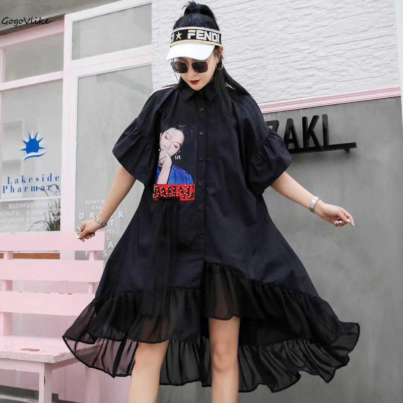 2019 Women's Ruffles Shirt Dress Summer Women Loose Shirt Blouse Flare Sleeve Vestidos Korean Design Korean Style Lt588s50