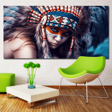 HD Prints Modern Wall Art Painting Indiana Girl Beauty Portrait Pictures Prints on canvas No frame Home Decor For Living Room 2pic set paris city landmarks and cars modern painting hd prints on canvas wall art for living room canvas printings home decor