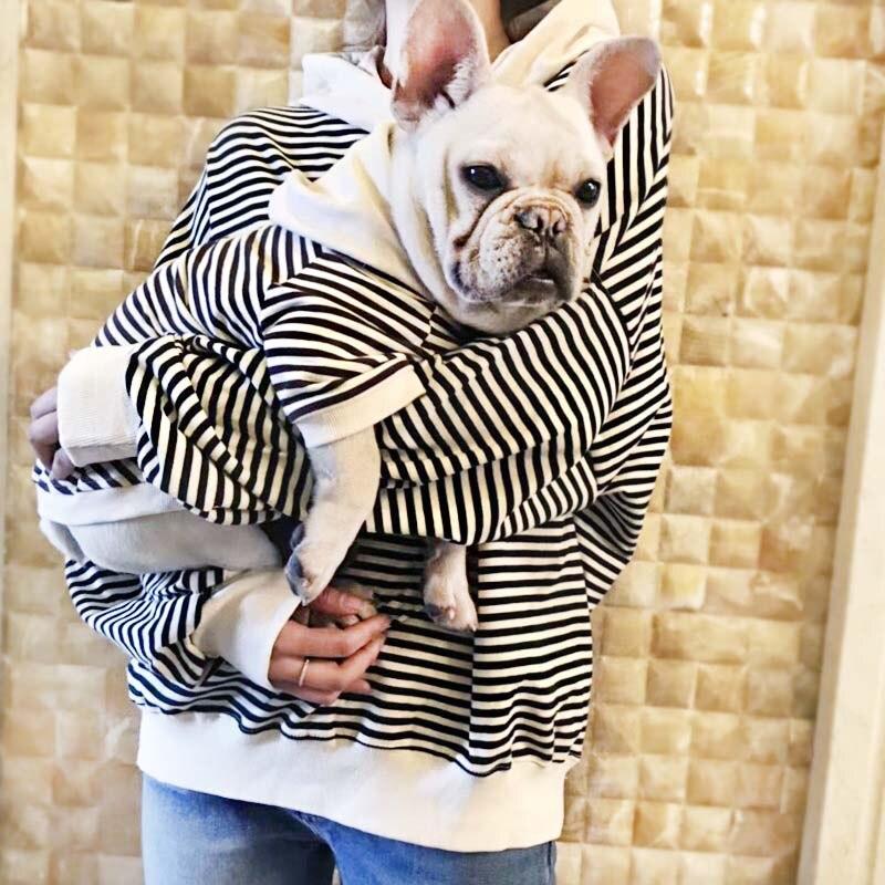 Autumn Winter Dog Clothes Pet Matching Clothing For Dogs Coat Jacket Stripe Dog Hoodies French Bulldog