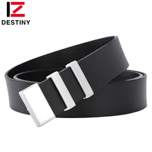 DESTINY famous brand genuine designer cow leather belt men luxury strap male silver gold belt for man jeans brown high quality
