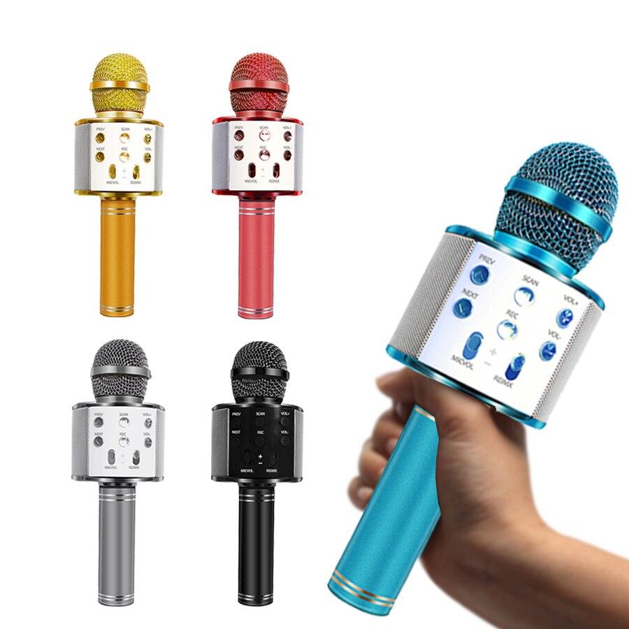 WS-858 ไมโครโฟนไร้สายบลูทูธคาราโอเกะไมโครโฟน USB MINI Home KTV สำหรับเล่นเพลงร้องเพลงลำโพง