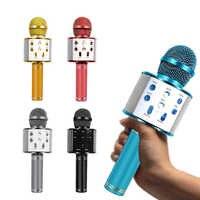 WS-858 Bluetooth Microfono Senza Fili Palmare Karaoke Microfono USB Mini Casa KTV Per La Riproduzione di Musica Canto Altoparlante del Giocatore
