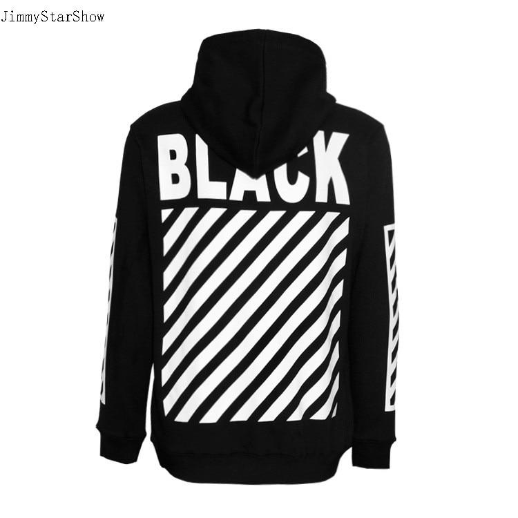 New Fashin OFF BLACK White Stripes Fleece font b Hoodies b font Sweatshirts font b Men
